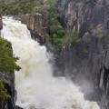 Meadstone Falls in flood after 80mm of rain